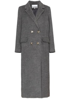 Ganni double-breasted checked coat