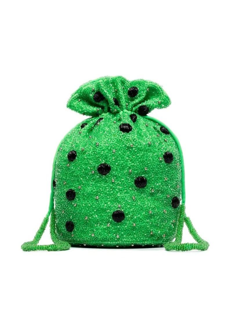 Ganni green Edison polka dot beaded clutch bag