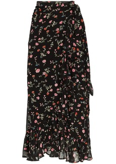 Ganni Elm floral-print ruffled-georgette wrap skirt