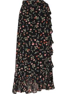 Ganni Ruffled Floral-print Georgette Wrap Skirt