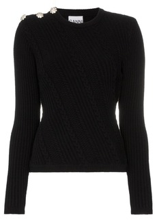 Ganni embellished knitted jumper