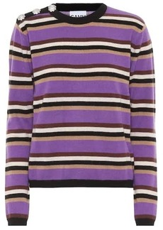 Ganni Embellished striped cashmere sweater