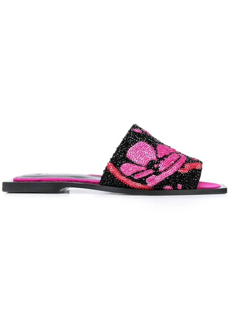 embroidered square-toed sandals