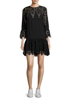 Ganni Emile Lace Bell-Sleeve Dress