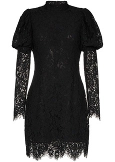 Ganni Everdale puff sleeve lace cotton blend mini dress