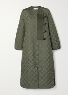 Ganni Felt-trimmed Quilted Ripstop Coat
