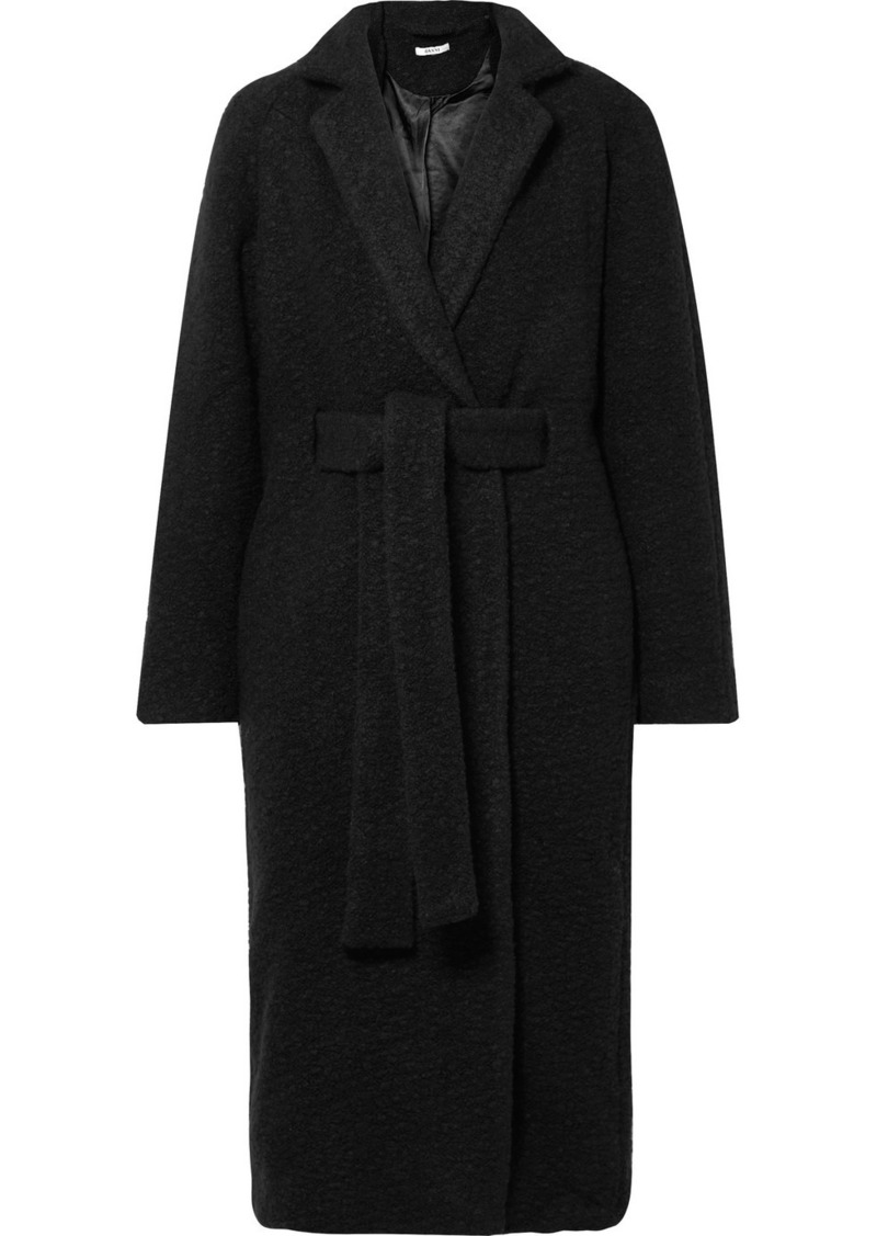Ganni Fenn Oversized Belted Wool-blend Bouclé Coat