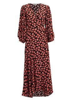 Ganni Fiery Red Printed Wrap Dress