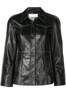 Ganni fitted leather jacket
