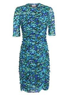 Ganni Floral Mesh Ruched Dress