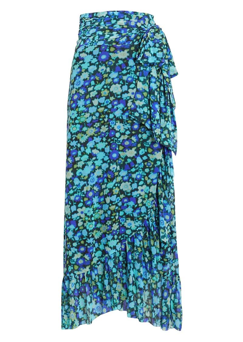 Ganni Floral Mesh Wrap Skirt