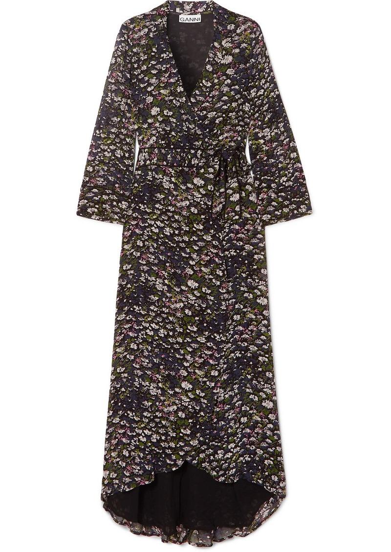 Ganni Floral-print Georgette Wrap Dress