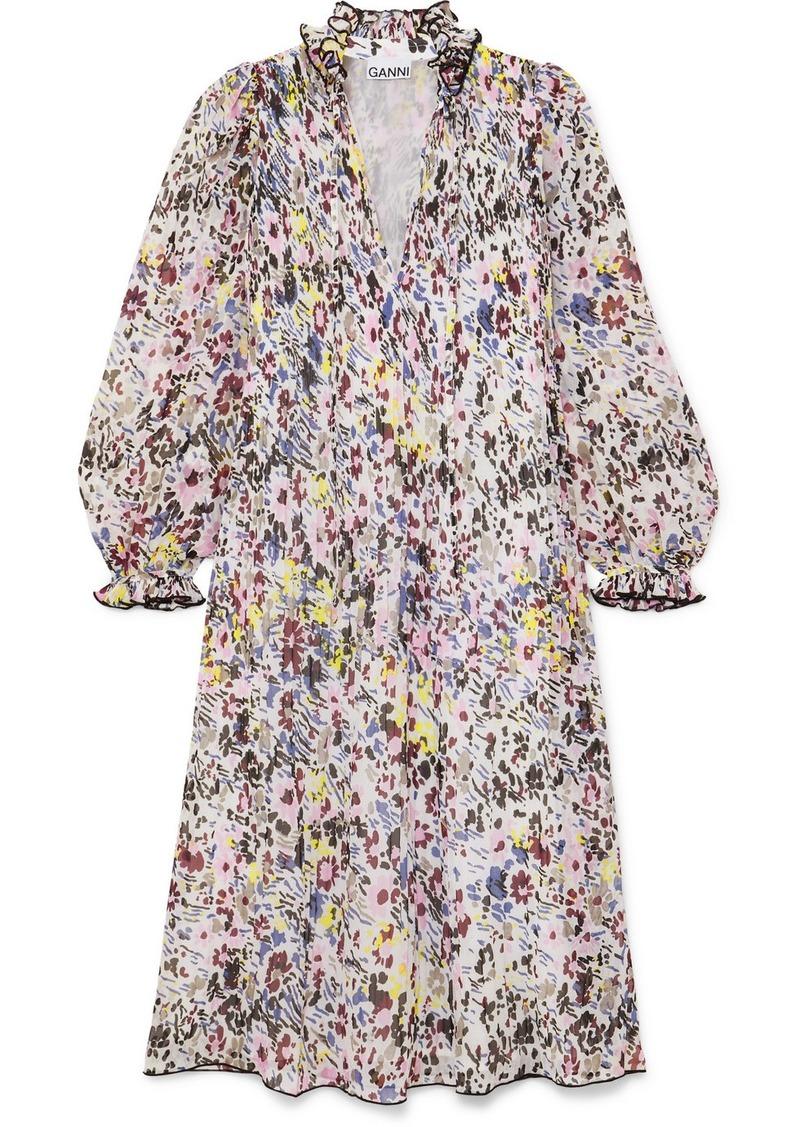 Ganni Floral-print Plissé-georgette Midi Dress