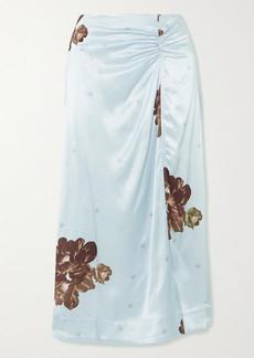 Ganni Floral-print Ruched Satin Midi Skirt
