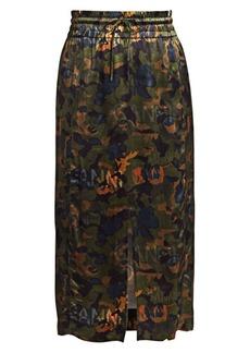 Ganni Floral Print Satin Midi Skirt