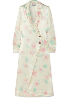 Ganni Floral-print Satin Wrap Dress