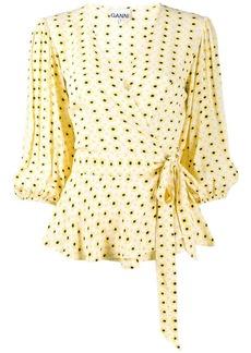 Ganni floral print wrap blouse