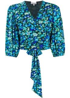 Ganni floral-print wrap blouse
