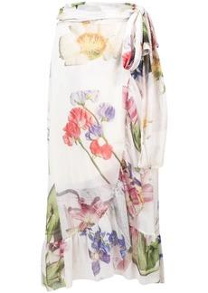 Ganni floral wrap skirt