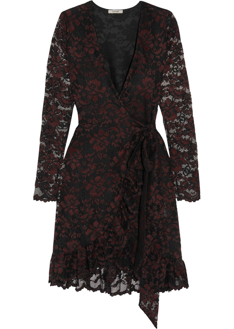 Ganni Flynn lace wrap mini dress