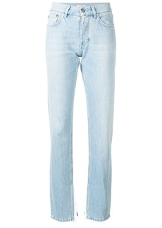 Ganni frayed cuff detailed jeans