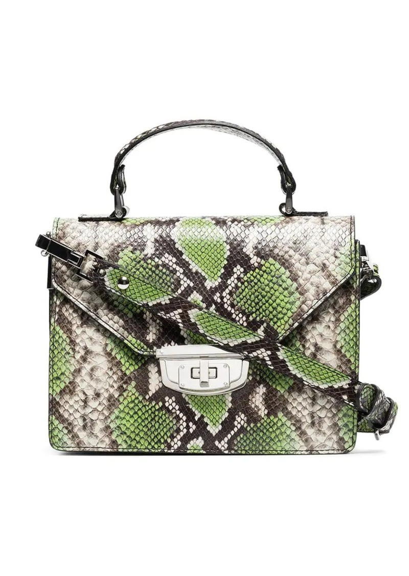 Ganni green Gallery top handle leather bag