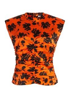 Ganni - Women's Ruched Floral Stretch-Silk Top - Print - Moda Operandi