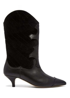 Ganni Adel quilted velvet western boot