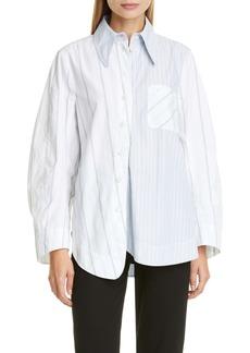 Ganni Asymmetrical Stripe Organic Cotton Shirt