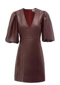 Ganni Balloon-sleeve leather mini dress