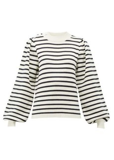 Ganni Balloon-sleeved striped jersey sweater