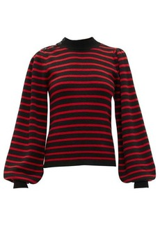 Ganni Balloon-sleeved striped sweater