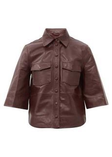 Ganni Bell-sleeve leather shirt