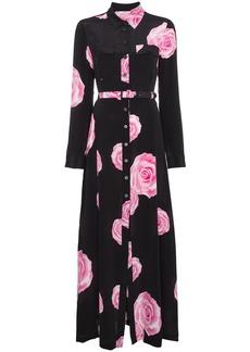Ganni belted shirt dress with rose print - Black