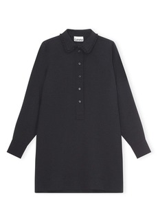 Ganni Button Front Long Sleeve Heavy Crepe Dress