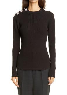 Ganni Button Shoulder Ribbed Sweater