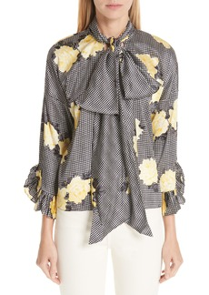 Ganni Calla Stretch Silk Tie Neck Blouse
