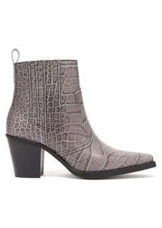 Ganni Callie Western crocodile-effect leather boots