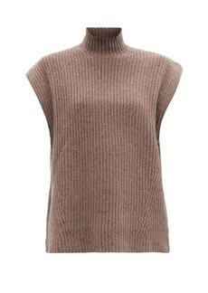 Ganni Cap-sleeve ribbed recycled wool-blend sweater