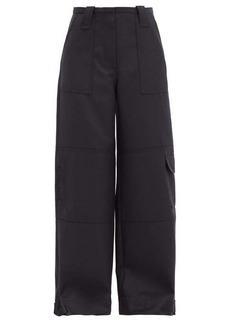 Ganni Cargo-pocket wool-blend wide-leg trousers