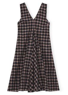 Ganni Check Seersucker A-Line Dress