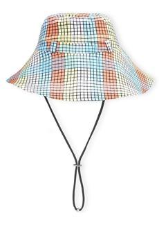 Ganni Check Seersucker Bucket Hat