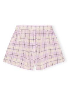 Ganni Check Seersucker Shorts