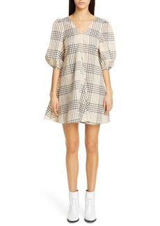 Ganni Check Seersucker Trapeze Dress
