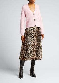 Ganni Chunky Grandpa Wool-Blend Knit Cardigan