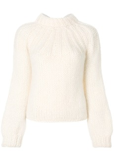Ganni chunky knit tie back sweater - White
