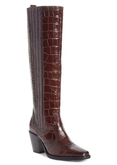 Ganni Croc Embossed Leather Knee High Western Boot (Women)