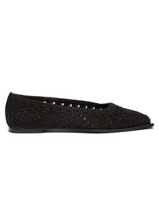 Ganni Crocheted square-toe ballet flats