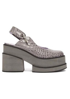 Ganni Crocodile-effect leather platform shoes