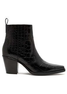 Ganni Crocodile-effect leather Western boots